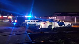 Handcuffed man drives away from police, causes destruction on West Side