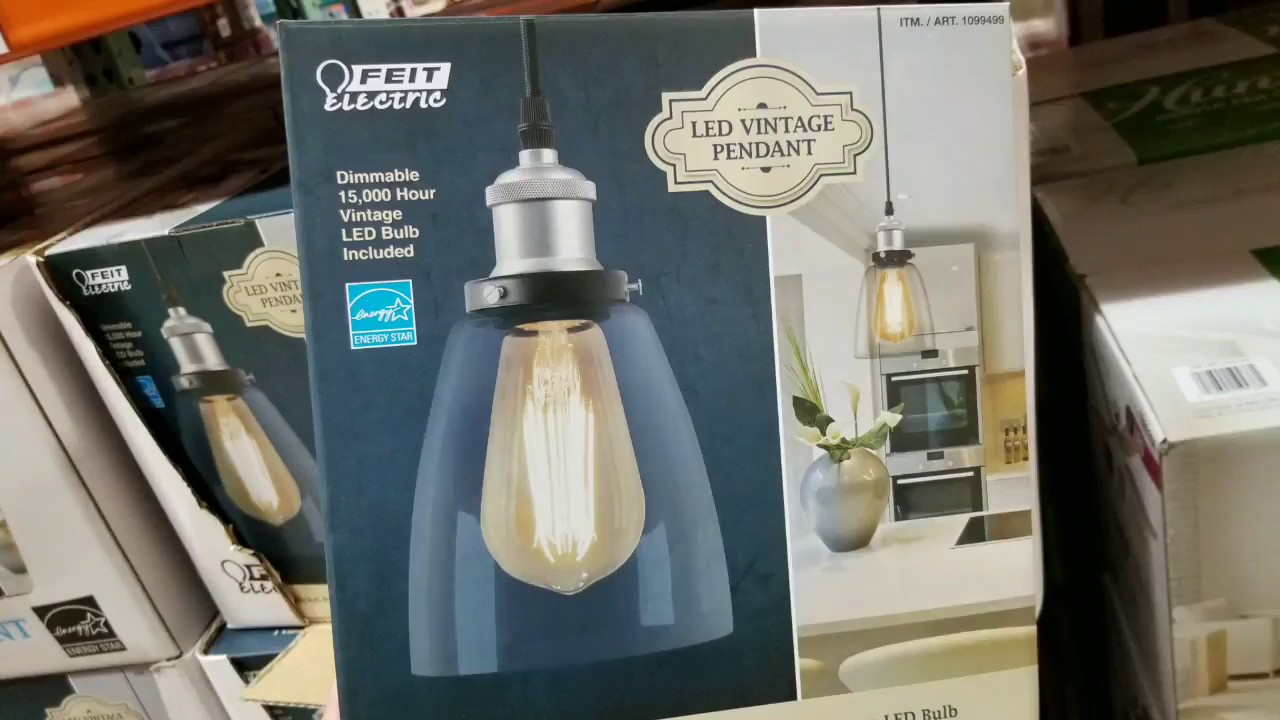 Costco EDISON Vintage Dimmable Nickle Pendant Light YouTube - Kitchen pendant lighting costco