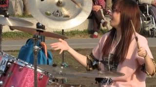 台中市民廣場花式鼓手正妹羅小白街頭表演