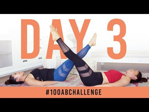 Day 3: 100 Double Leg Lifts! | #100AbChallenge w/ my sister!