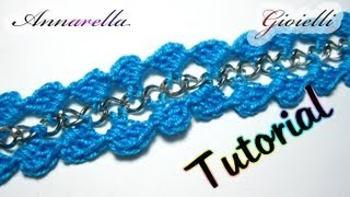 Repeat youtube video Tutorial Bracciale Uncinetto con Catena | Crochet bracelet with chain