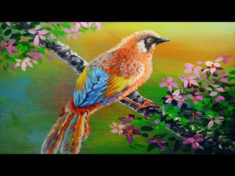 PAINTING TUTORIAL ACRYLIC - 27 | How to paint bird and flowers