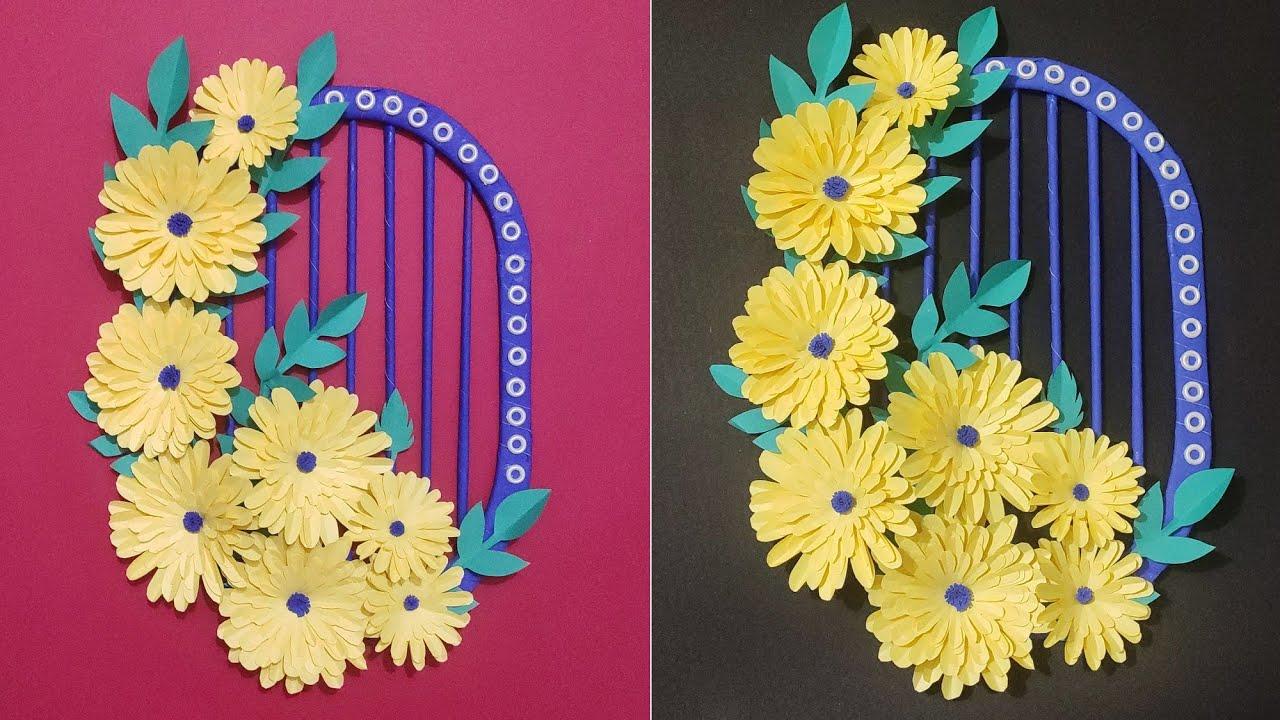 || Paper Flower wall hanging ||Easy wall Decoration idea  ll craft paper idea  ll