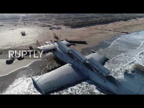 See Soviet-era MONSTER ship 'abandoned' on Caspian Sea shore