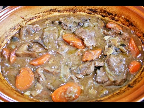 Beef bourguignon slow cooked