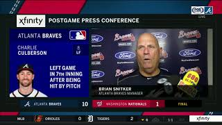 Brian Snitker gets emotional discussing Charlie Culberson getting hit in face with pitch