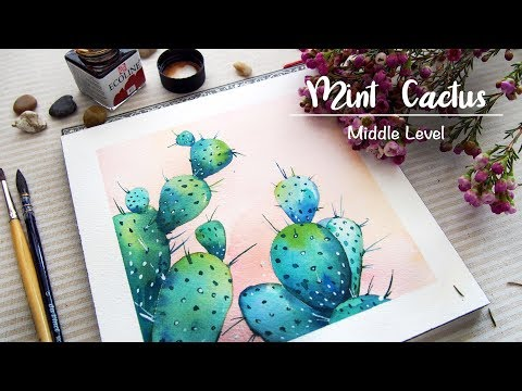 「watercolour painting」blue cactus