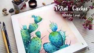 「watercolour painting」blue cactus