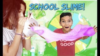 WE MADE SLIME out of SCHOOL SUPPLIES! Don't SPIN the mystery WHEEL WRONG!