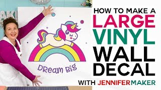 Make a Large Vinyl Wall Decal - How to Cut Larger Than Mat on a Cricut!