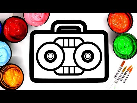 Painting Toy Radio Painting Pages for Children, Learn Colors with Paint for Baby