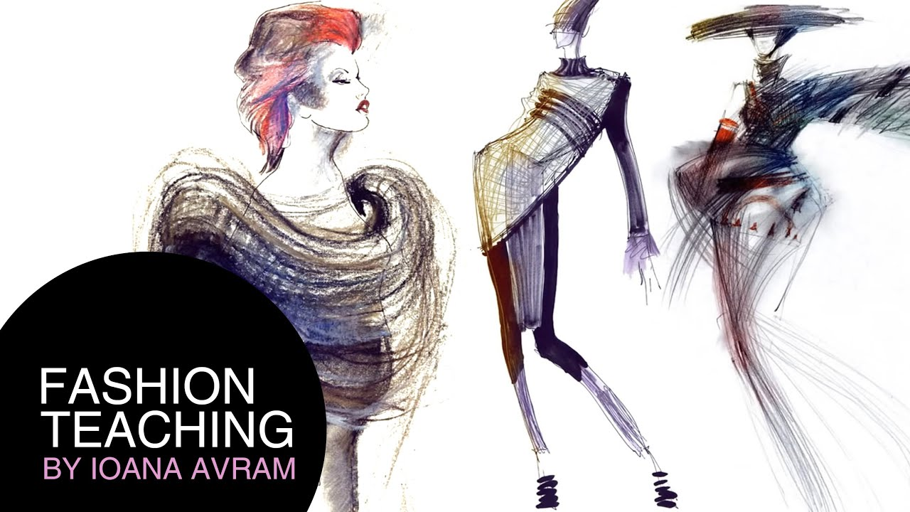 Coloring the fashion sketches - YouTube