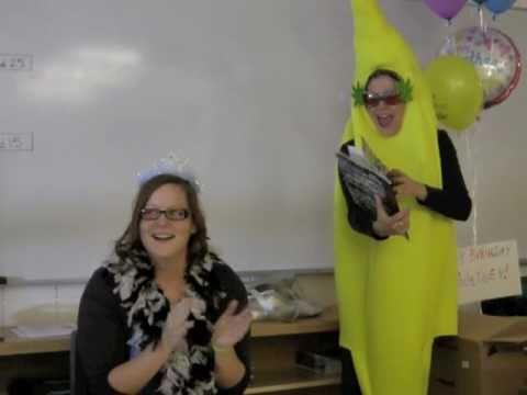 Calgary Singing Telegrams Banana Lady surprises Courtney!