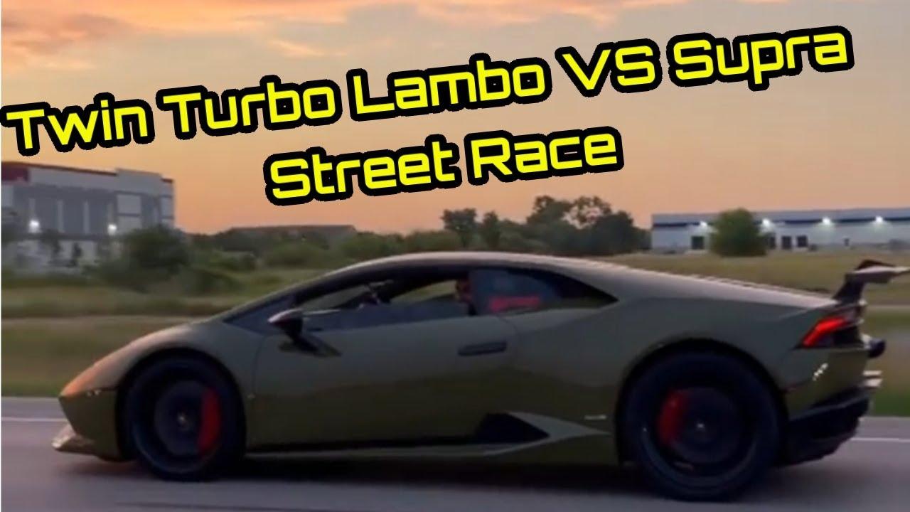 Twin Turbo Lamborghini VS MKV Toyota Supra! #Shorts