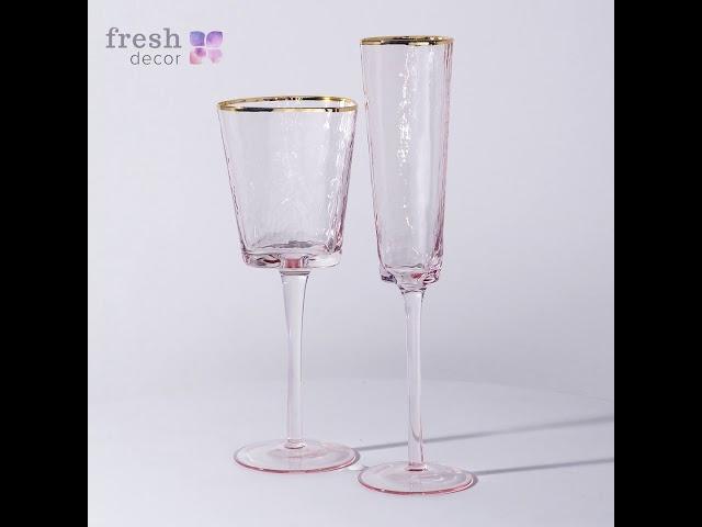 Набор бокалов для шампанского и вина Ice EVANS с серебряной каемкой видеообзор.  Продажа в Украине