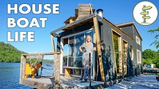 Living on a 4 Season Houseboat - Beautiful Floating Tiny House!