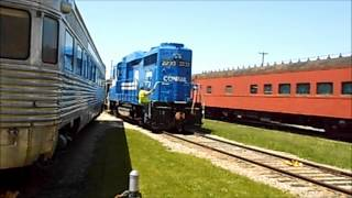 GP30 Conrail 2233 is put back inside Railroad Museum of Pennsylvania