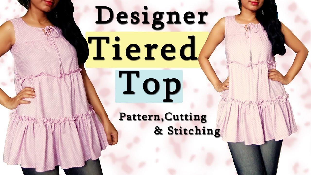 Diy Designer Clothes | Designer Tiered Top Pattern Cutting Stitching Diy Designer Tops