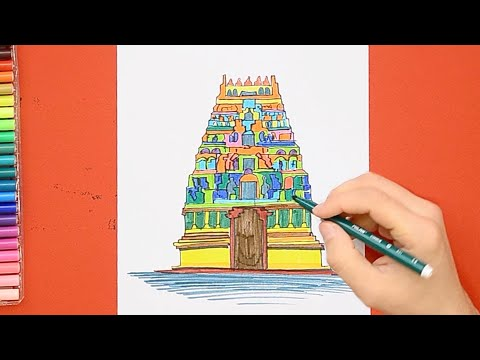 How to draw and color Meenakshi Temple, Madurai