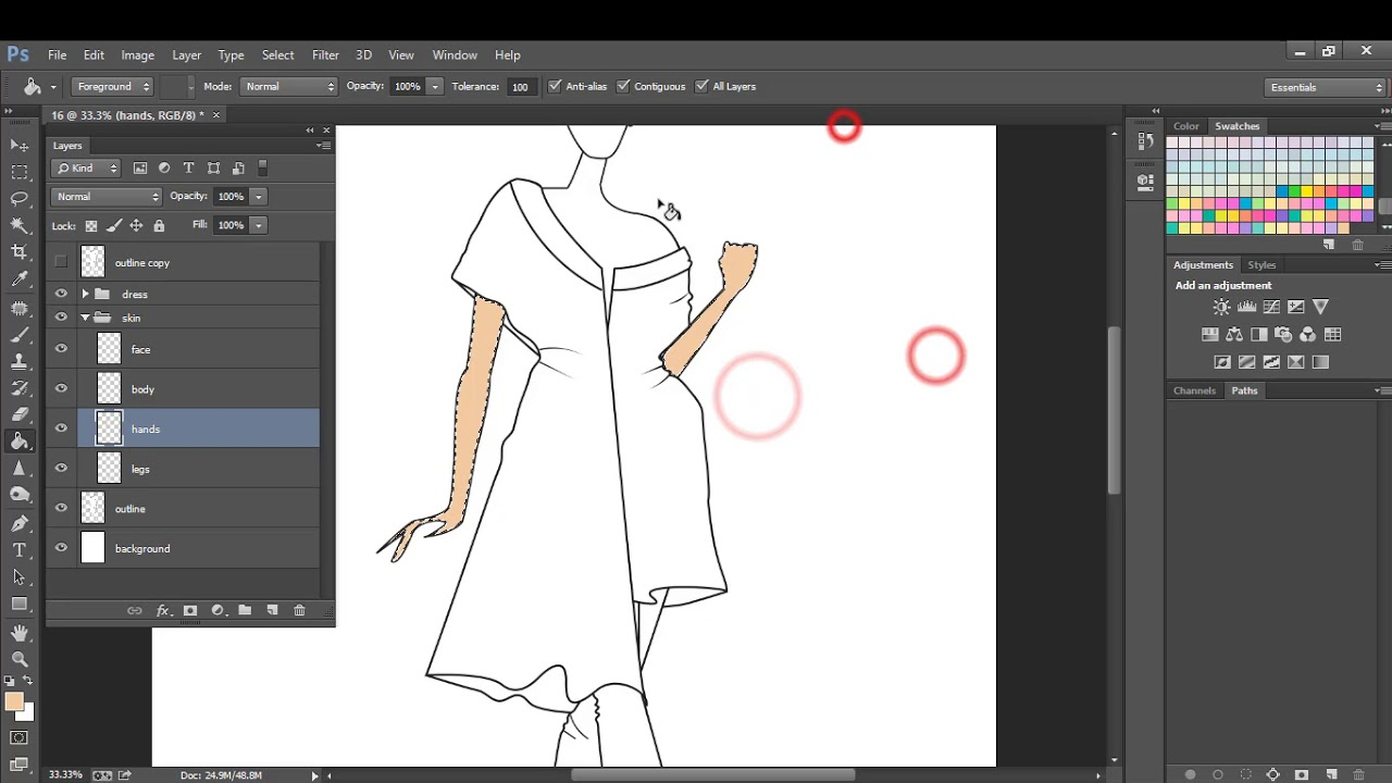 Fashion Illustration Coloring Techniques Using Photoshop Cc Youtube