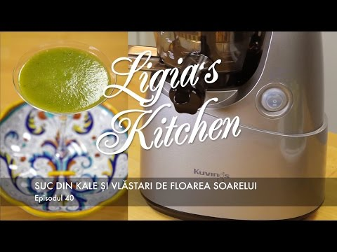 Kuvings Whole Slow Juicer Romania : Suc din kale si vlastari de floarea soarelui - YouTube