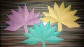 Кленовый лист. Оригами из бумаги. Осенние поделки