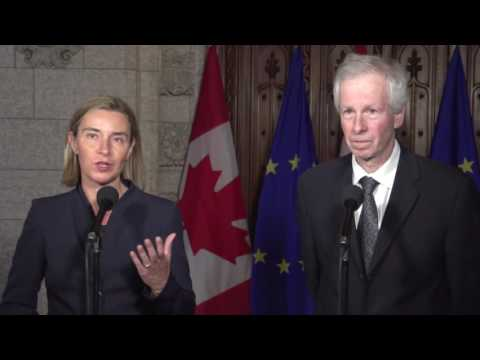 Door step: High Representative Federica Mogherini with Minister Stéphane Dion