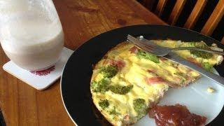 Breakfast Frittata\almond Milk & Banana Smoothie