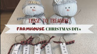 FARMHOUSE CHRISTMAS DECOR DIYS | ⭐️TRASH TO TREASURE ⭐️| THRIFT STORE MAKEOVERS