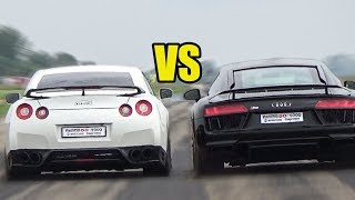 Nissan GTR R35 vs Audi R8 V10 Plus - RACE!