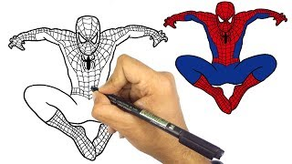 how to draw spider-man step by step for kids || tutorial ||