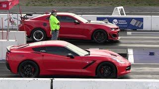 ZL1 Camaro vs Corvette C7 - drag racing