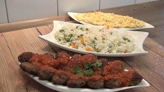 Bezelyeli havuclu pirinc pilavi domates soslu köfte ve havuc salatasi tarifi(aksam yemegi önerisi)