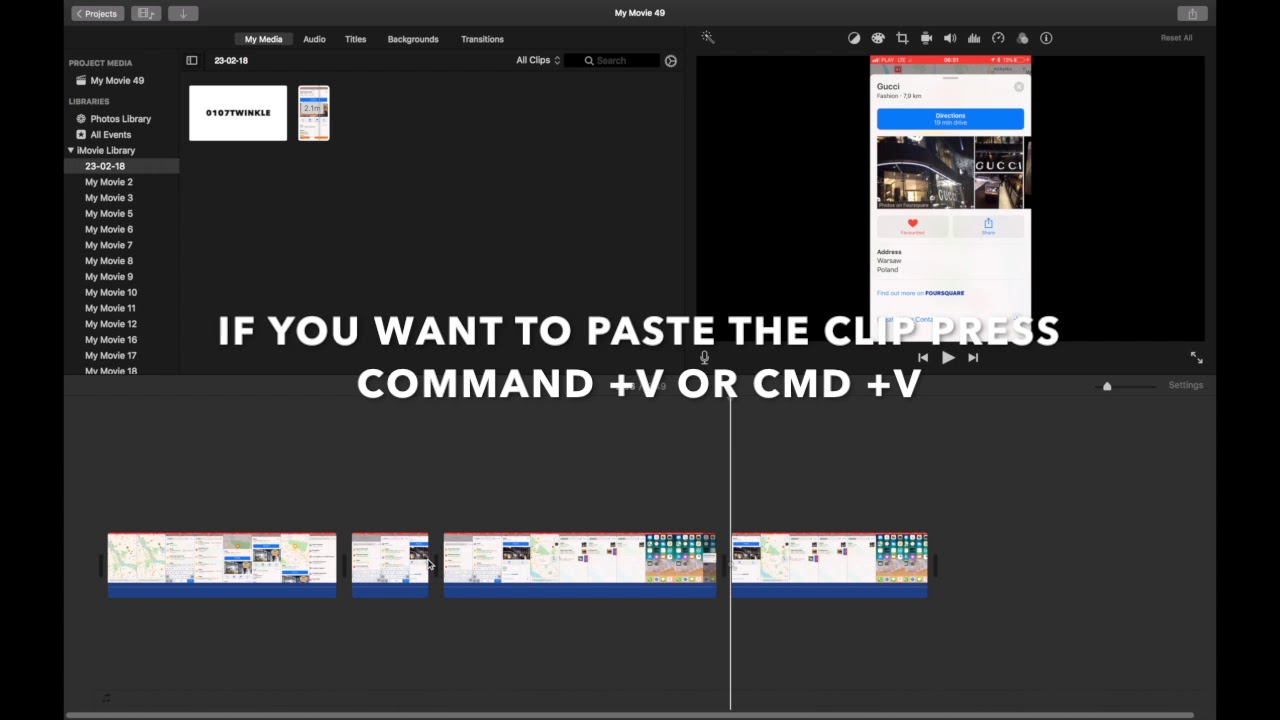 Part 2 Imovie Keyboard Shortcuts Cut Copy Paste Mac Youtube