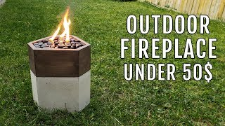 DIY Outdoor Fire Pit Fireplace - Concrete and Wood