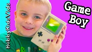 Old School Nintendo Gąme Boy! Collector Video Game Play with Tetris HobbyKidsVids