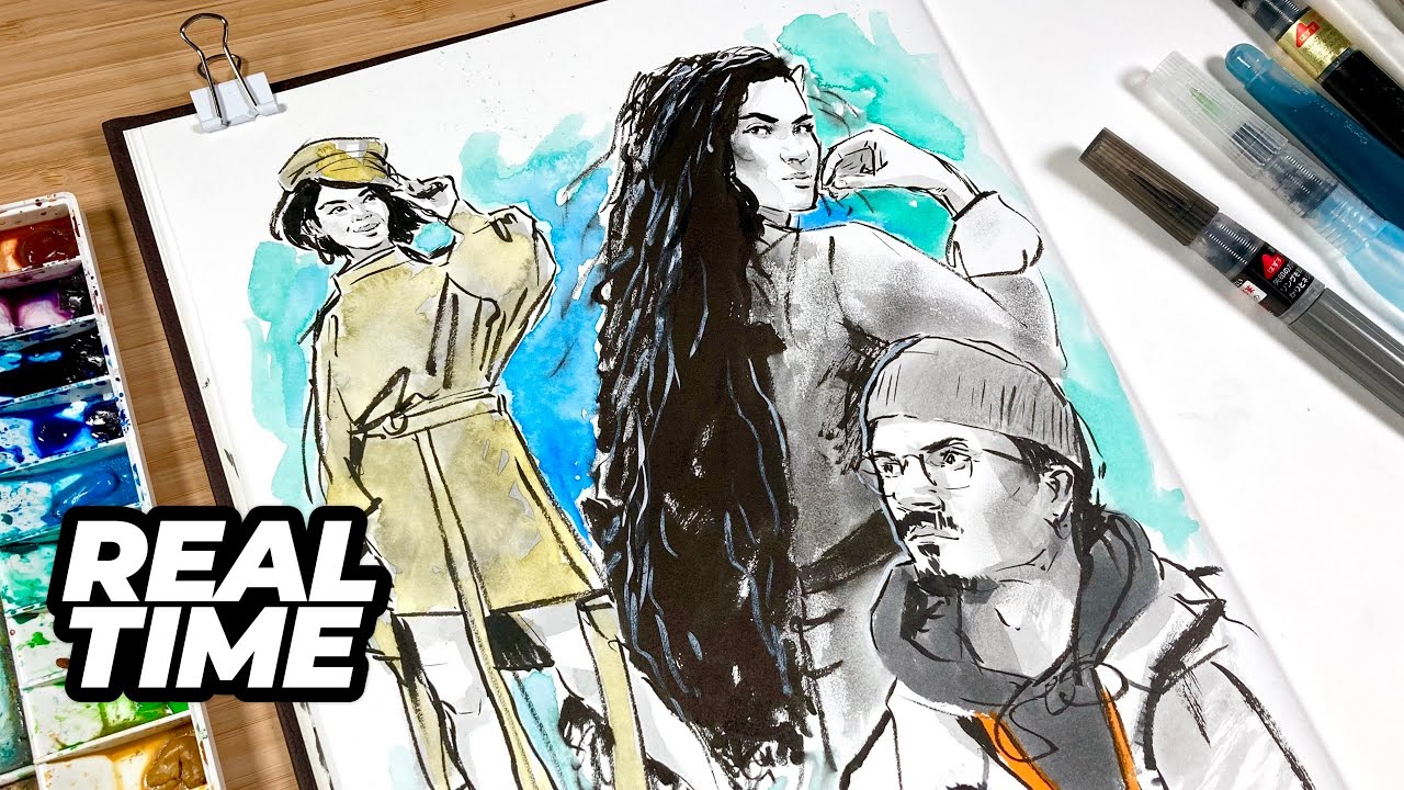 Fill your sketchbook page with me (Page 3) REAL TIME | References | Commentary