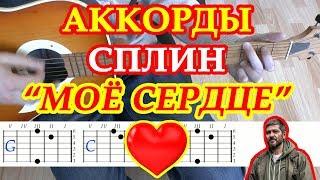 Моё сердце Аккорды Сплин Васильев песни на гитаре без баррэ Табы Бой Текст
