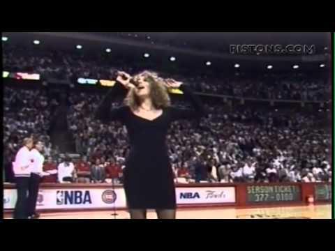 Mariah Carey  June 5, 1990 at Detroit Pistons NBA game