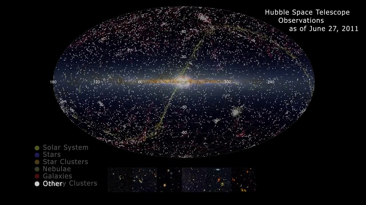 Hubble Space Telescope Observations Map YouTube - Space map