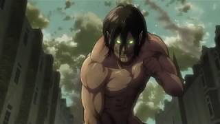 Mikasa and Titan Eren vs  Female Titan HD
