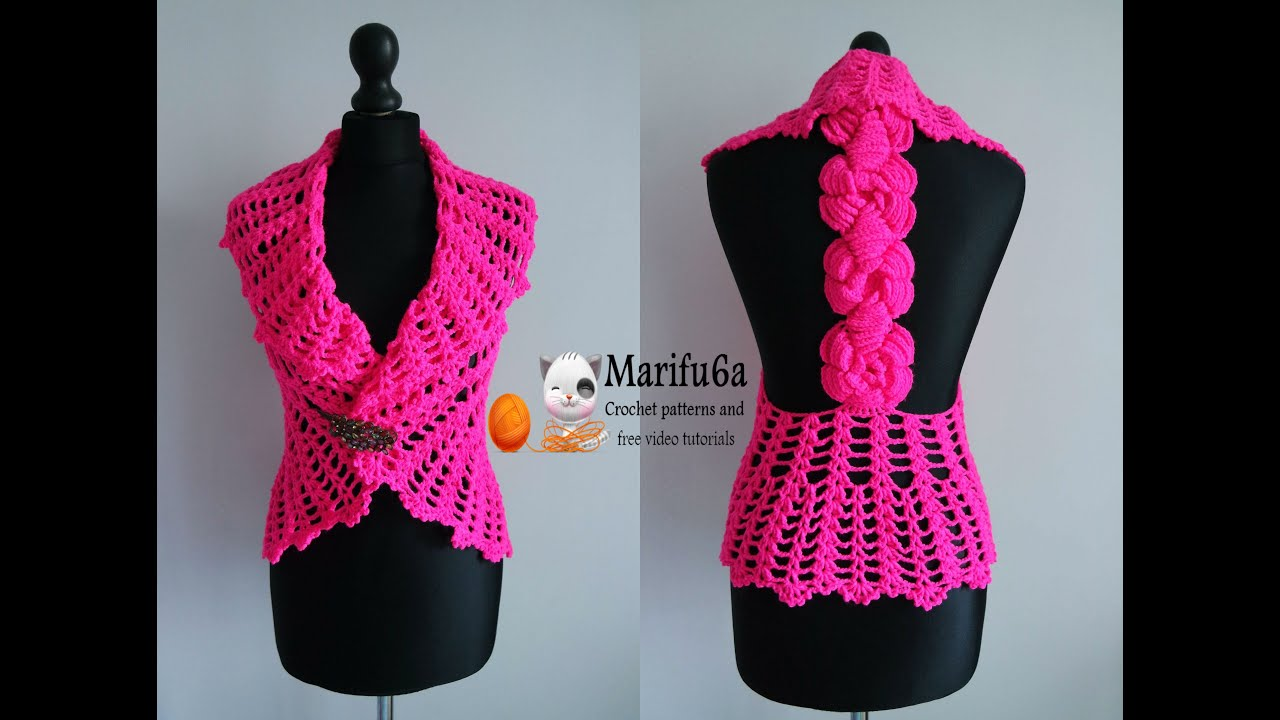 Free Crochet Pattern Bolero Jacket : how to crochet vest bolero jacket with roses chaleco free ...