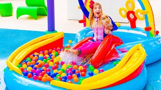 Maggie Pretend Play With Giant Rainbow Inflatable Kids Swimming Pool
