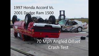 1997 Honda Accord Vs. 2001 Dodge Ram 1500 NHTSA Oblique Overlap Crash Test (70 Mph)