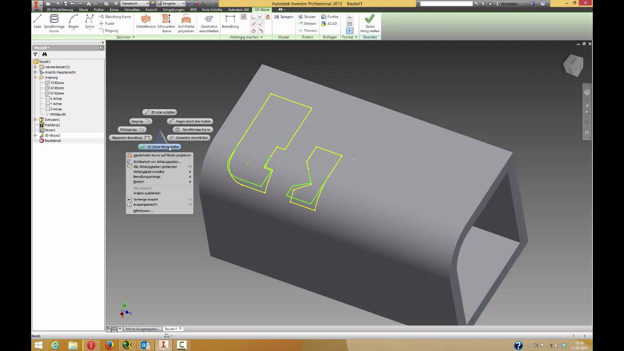 Verdickung / Versatz von 3D-Skizze - YouTube