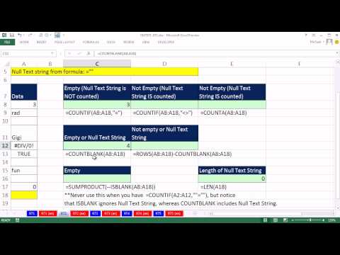 Excel Magic Trick 972: Empty Cell or Null Text String in Formulas: Counting Formulas