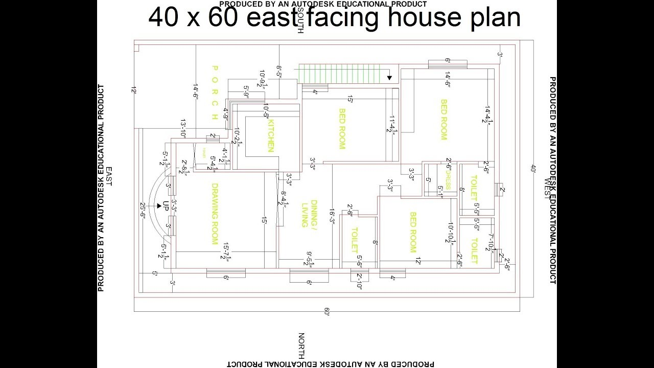 Best 40 x 60 east facing house plan best east facing house design hp 2