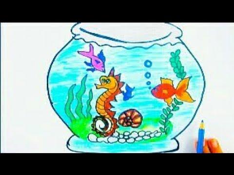 رسم حوض سمك جميل جدا رسم سهل للاطفال بالخطوات وتعليم الالوان Youtube