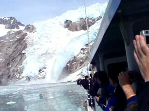 Glacier waterfall into ocean, HUGE in Alaska