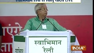 Lalu Yadav Addresses Swabhiman Rally in His Comedy Style at Gandhi Maidan - India TV